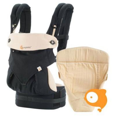 Ergobaby - Geboortepakket: babydraagzak 4 posities 360 & baby verkleinkussen - black camel