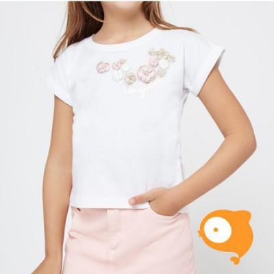Conguitos - T-shirt bloemetjes wit