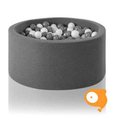Misioo - Ballenbad rond grijs incl 200 ballen (kleur ballen: wit, lichtgrijs en transparant)