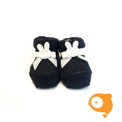 Fior di Coccole - Gebreide sokjes donkerblauw met konijntje Newborn (wol)