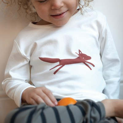 Pigeon - long sleeve fox on white