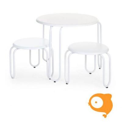 Childchome - Ironwood ronde tafel + 2 stoeltjes wit