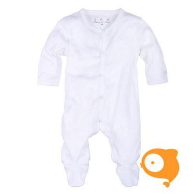 Claesen's - Newborn kruippakje met voeten en lange mouwen wit