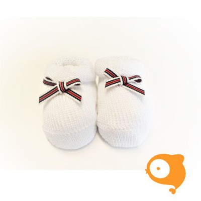 Fior di Coccole - Gebreide sokjes wit met gestreept strikje Newborn (Katoen)