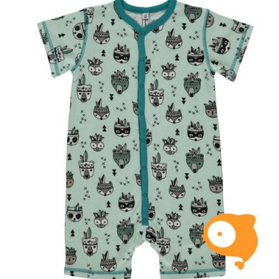 Maxomorra - Rompersuit Button SS Animal Mix