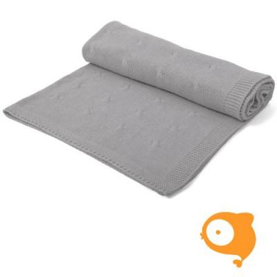 Poetree - Gebreid deken grijs 80 x 100 cm (15 % wol 85 % katoen)