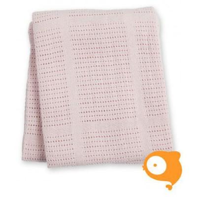 Lulujo - Cellular gebreid dekentje roze