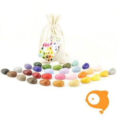 Crayon Rocks - 32 Soja waskrijtjes in een ecru katoenen zakje