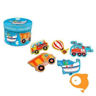 Scratch - Beginnerspuzzel  - voertuigen - 5 puzzels in doosje