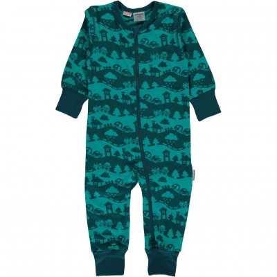 Maxomorra - Rompersuit Zip LS turquoise landscape
