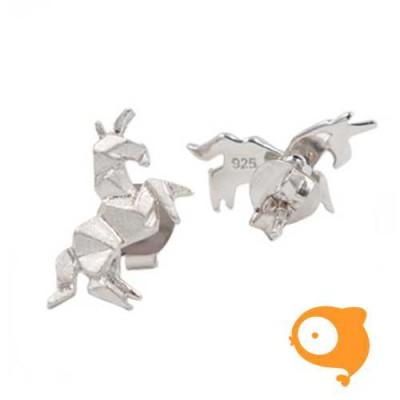 By Nebuline - Oorbellen origami eenhoorn in sterling zilver
