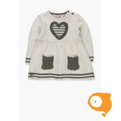 Boboli - Kleedje baby gebreid grijs met hartje