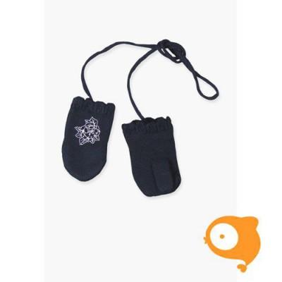 Boboli - Handschoenen baby gebreid donkerblauw met roos