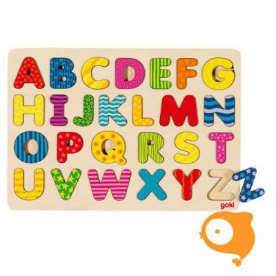 Goki - Inlegpuzzel ABC hoofdletters met motiefjes