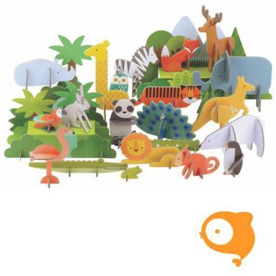 Petit Collage - Pop-out deluxe 3D dieren van de wereld