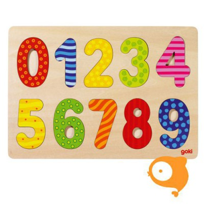 Goki - Inlegpuzzel getallen 0-9 print