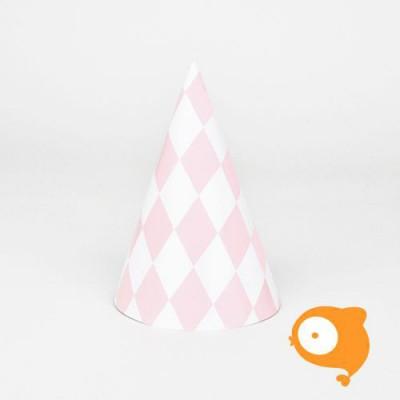 My little day - Papieren hoedjes diamant roze - set van 8