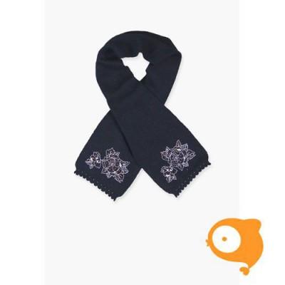 Boboli - Sjaal baby gebreid donkerblauw met roos