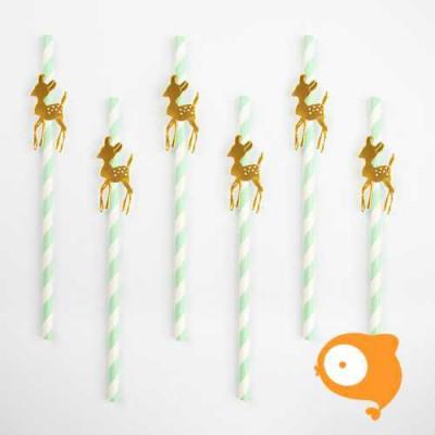 My little day - Papieren rietjes gouden hert - set van 12