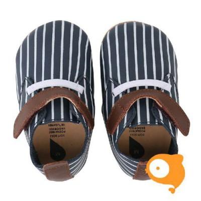 Bobux - Soft sole navy/white stripes/tan trim trainer