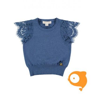 Angels Face - Romantic lace sleeve jumper denim blue