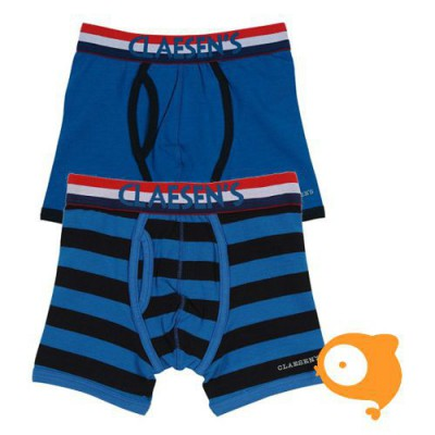 Claesen's - Set van 2 boxershorts voor jongens blauw/zwart