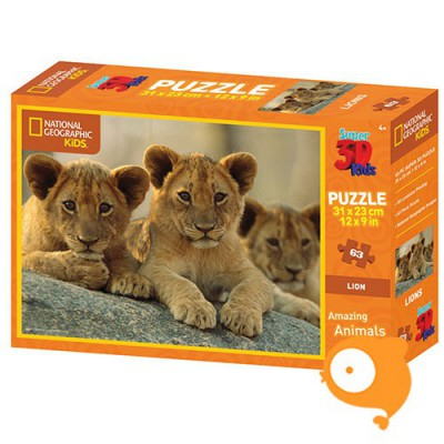 Prime 3D - Puzzel 63 stukjes 'Afrikaanse leeuwen (National Geographic)'