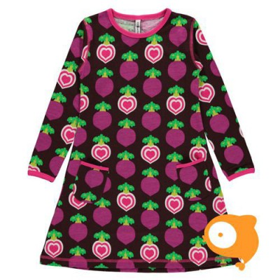 Maxomorra - Dress LS polka beet