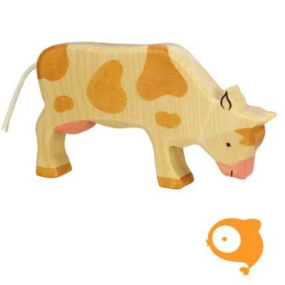 Holztiger - Houten boerderij: grazende koe (bruin)