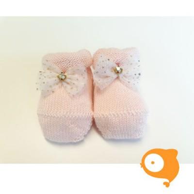 Fior di coccole - Gebreide sokjes roze met glitterstrikje Newborn (wol)