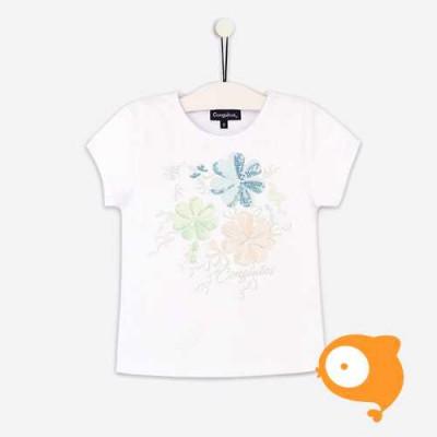 Conguitos - T-shirt wit met bloemenprint en zilveren afwerking