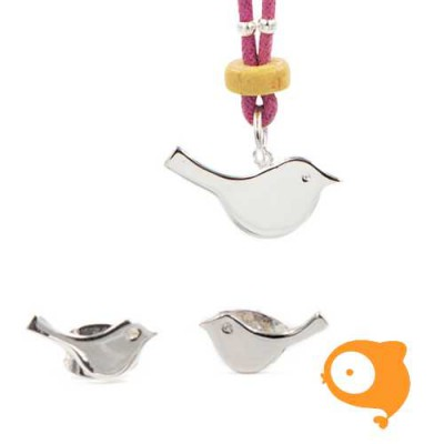 By Nebuline - Set van oorbellen en paarse ketting met vogel verzilverd