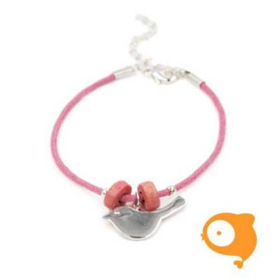 By Nebuline - Armband roze met vogel verzilverd