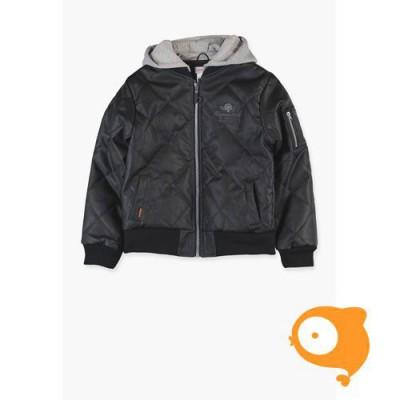 Boboli - Jas in zwart namaakleer en grijze kap