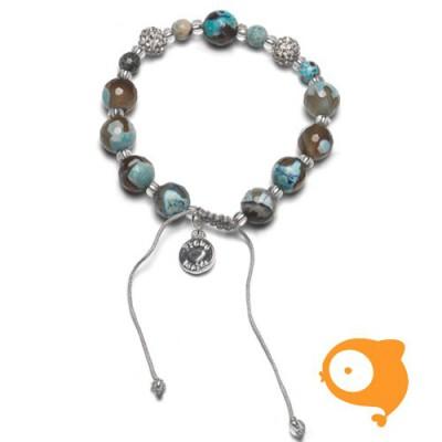 Proud Mama - Armband agaat blauw/bruin