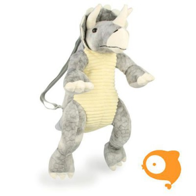 Grimini - Dino Triceratops grijs - rugzak pluche