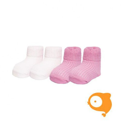 In Control - Terry newborn sokjes white/light pink