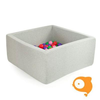 Misioo - Ballenbad vierkant lichtgrijs incl 300 ballen (ballen: parel, baby blauw, wit, clear+zilver