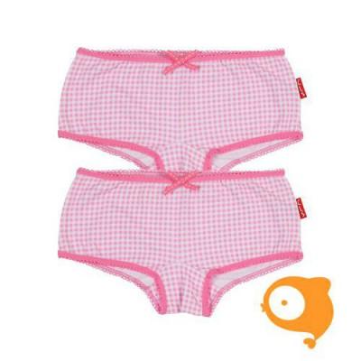 Claesen's - Set van 2 hipboxershorts meisjes roze/wit geruit