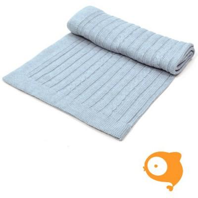 Poetree - Gebreid deken blauw 80 x 100 cm (15 % wol 85 % katoen)