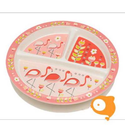 Sugarbooger - Bord met zuignap (3 vakjes) - Flamingo