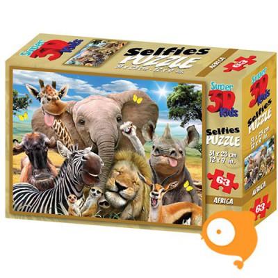 Prime 3D - Puzzel 63 stukjes 'African selfie'