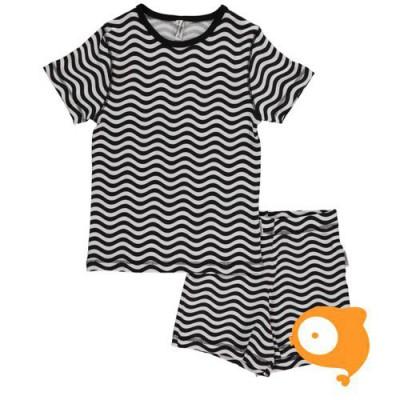 Maxomorra - Pyjama set SS waves black/white