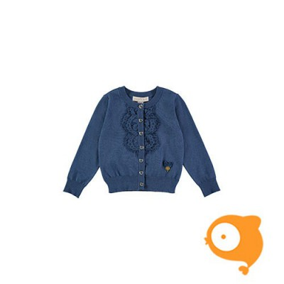 Angels Face - Bib lace cardigan denim blue