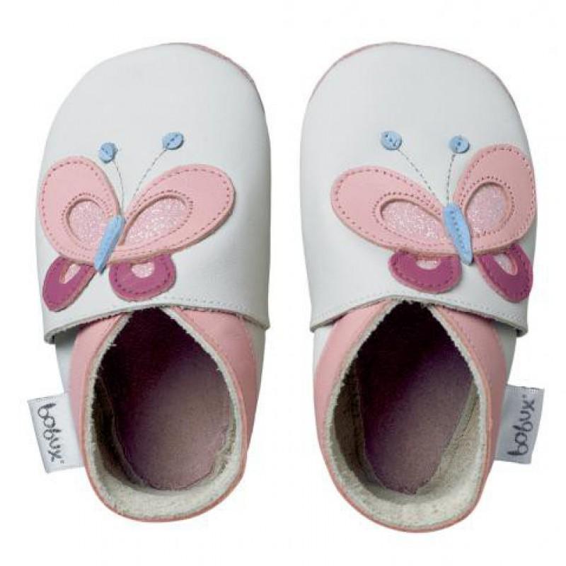 Bobux - Soft sole roze vlinder met glinster