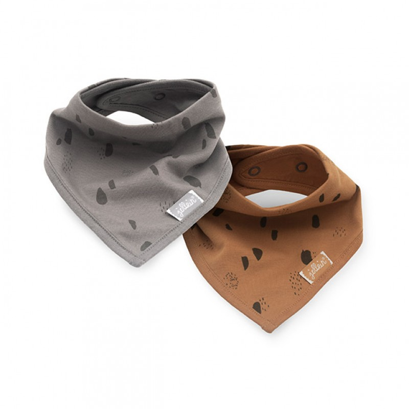 Jollein - slab bandana Storm grey/Caramel (2 pack )