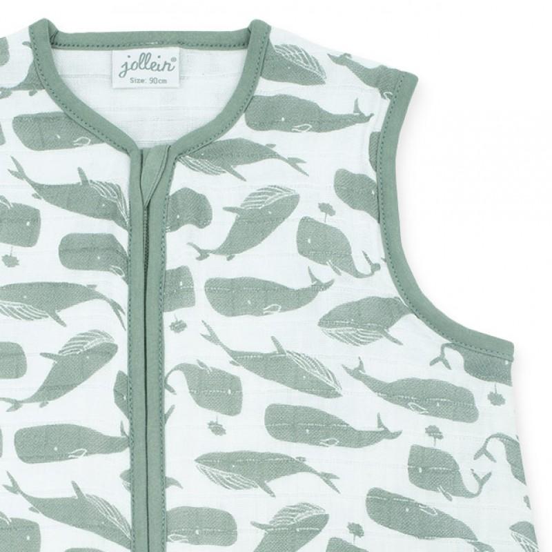 Jollein - Slaapzak zomer 90cm hydrofiel Whales ash green