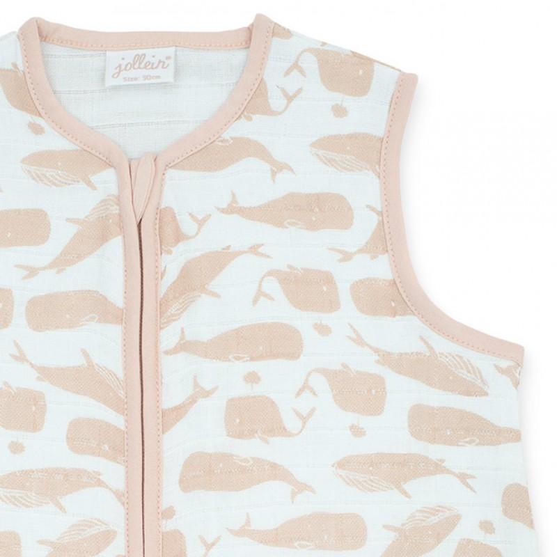 Jollein - Slaapzak zomer 70cm hydrofiel Whales pale pink