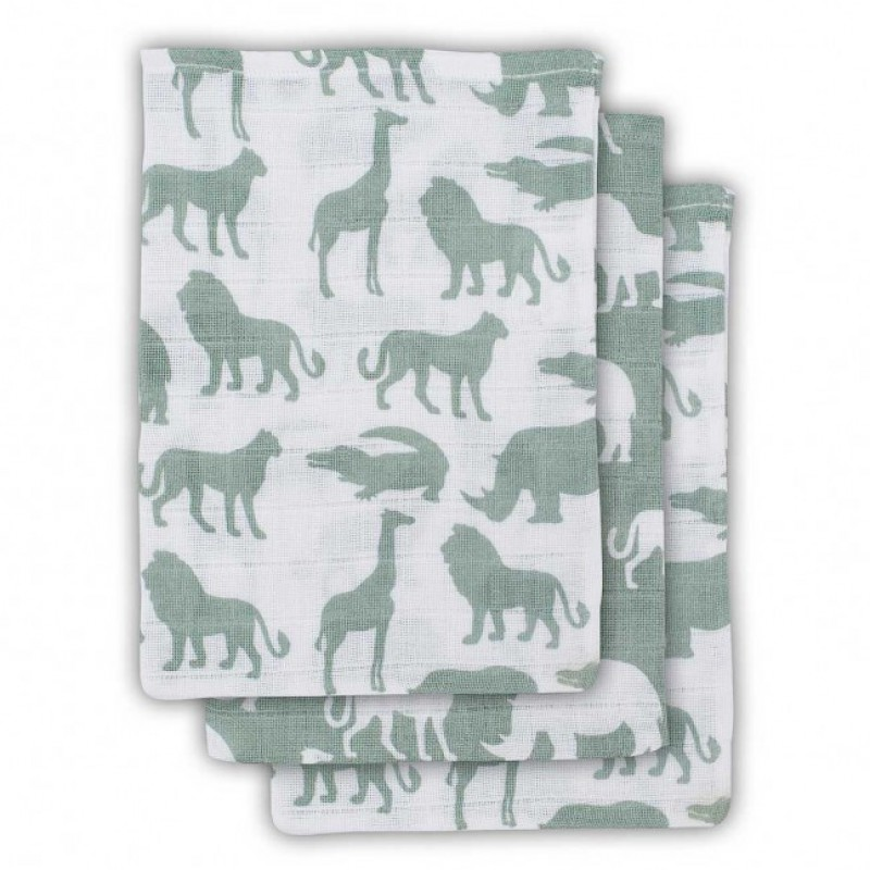 Jollein - Hydrofiel washandje Safari forest green ( 3 pack )