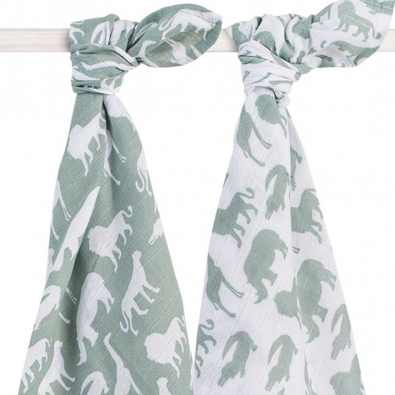 Jollein - Hydrofiel multidoek 115x115cm Safari forest green (2 pack)